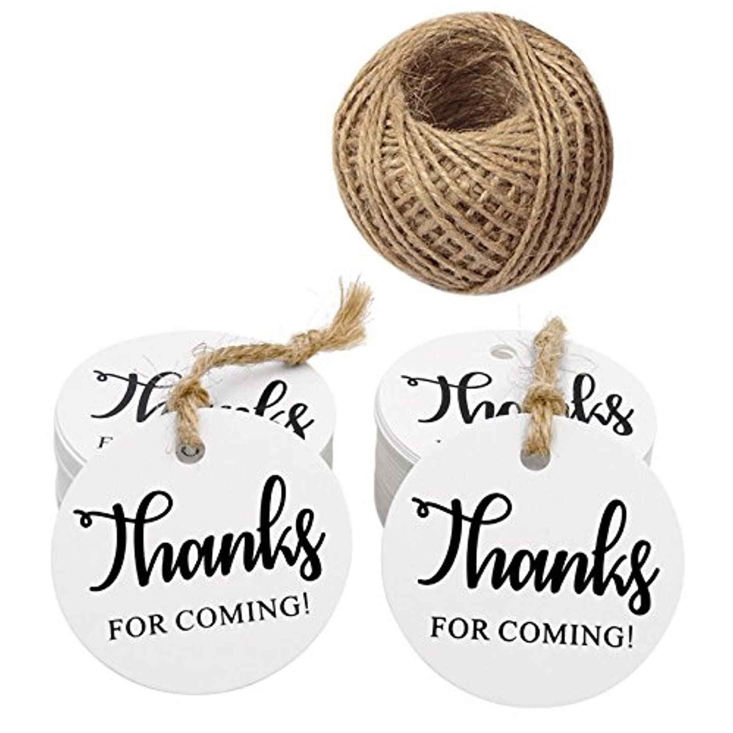 Thanks for Coming Tags,100 Pieces White Kraft Paper Gift Tags Hang Tags,Thanks for Coming Printed Round Kraft Tags with 100 Feet Jute Twine(5CM)