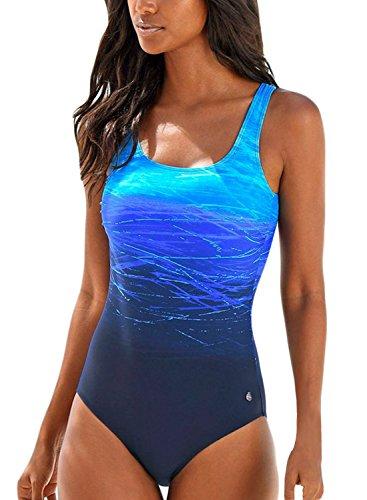 Aleumdr Costume Intero Donna Tie-Dye Costumi Interi da Bagno Donna Indietro Cross Criss - Blu - XL