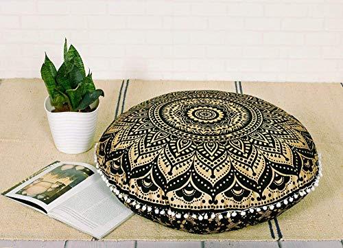 Funda de cojín redonda hecha a mano de 81 cm con diseño de mandala india para decoración del hogar, diseño de puf bohemio, 100% algodón, multicolor, Design 10