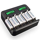 Paquete de 8 baterías Recargables Ni-Mh AA 3000mAh Palo con Cargador de batería Ni-CD AA/AAA/C/D de 8 Ranuras