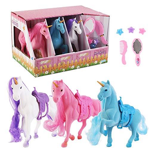 deAO Unicornios Mágicos Conjunto de 3 Unicornios Variados, Espejo, Peine y Accesorios para el Cabello – Conjunto Adicional para Juegos de Muñecas