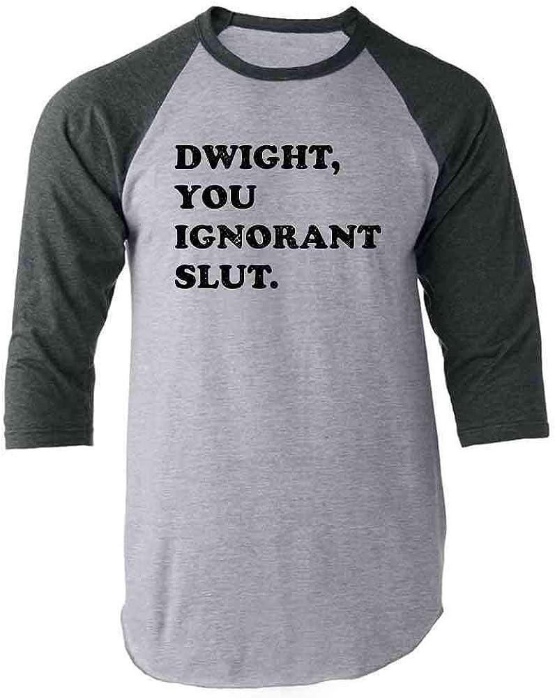 Pop Threads Dwight You Ignorant Slut Funny Gray 3XL Raglan Baseball Tee Shirt