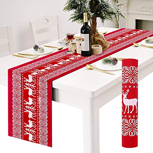 Table Runners, Red Linen Christmas Table Runners Tablecloth with White Reindeer Pattern, Non-slip Long Xmas Table Cloth Christmas Runner for Christmas Dinning Tables Decorations 12 x 108 Inch