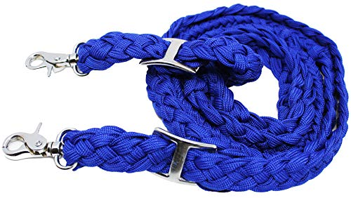 CHALLENGER Roping Knotted Horse Tack Western Barrel Reins Nylon Braided Blue 60720