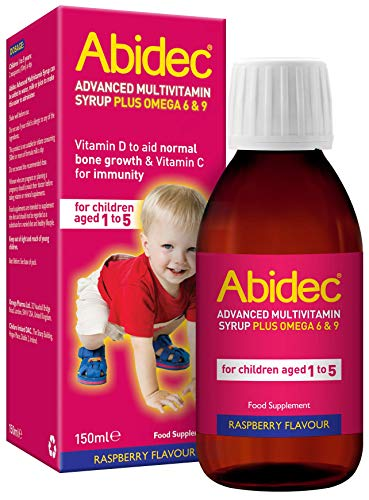 Abidec Kid Multivitamin Syrup – Contains Vitamin D Needed for Normal Growth and Development of Bones in Children - Contains Omega 6 & 9 - Food Supplement Suitable for Kids Aged 1-5 - 150 ml