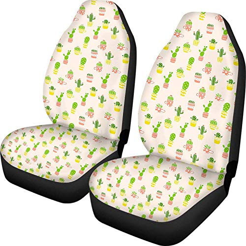 Romance-and-Beauty Cactus Green Design Universal Car Seat Covers Front Seat Soft Protector Case Non-Slip Washable Cover Case 2 PCS for Women
