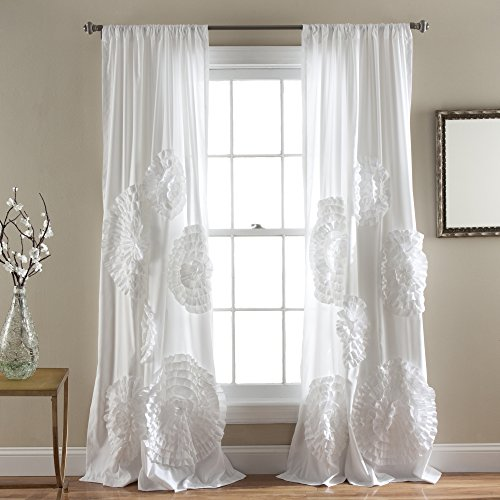 """Lush Decor, White Serena Window Panel for Living, Dining Room, Bedroom (Single Curtain), 84"""" x 54 L"""