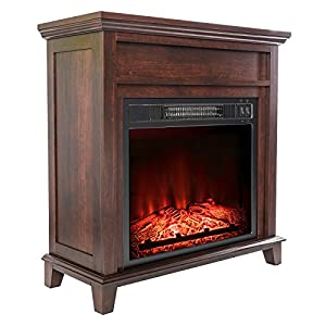 AKDY 28-inch Black Electric Firebox Fireplace Heater Insert Curve Glass Panel W/Remote Azfl-EF06-28r