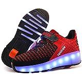LED Chaussures à roulettes de Skateboard USB Rechargeable 7 Couleurs Clignotantes Chaussure avec Rouleau Multisports Outdoor Athlétisme Gymnastique Sneaker Automatiques Rétractables Baskets Mode