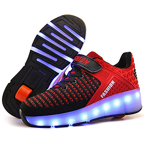 XUEJETEU LED Blinkend Schuhe Mit Single Rollen USB Aufladen Automatisch Einziehbar Räder Rochen Skateboardschuhe Sport Outdoor Fitnessschuhe Rädern Gymnastik Traillaufschuhe Sneaker für Jungen Mädchen