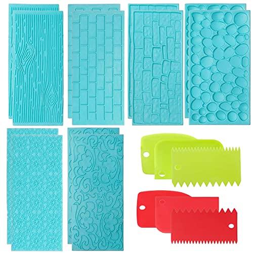 Binjor 18Pcs Moldes de glaseado en Relieve plástico Juego Repujado Herramienta para Hornear Espátula de plástico para raspadores Peine de decoración