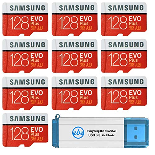 Samsung 128GB Evo Plus MicroSD Card (Bulk 10 Pack) Class 10 SDXC Memory Card with Adapter (MB-MC128G) Bundle with (1) Everything But Stromboli 3.0 Reader with SD & Micro (TF) Slots