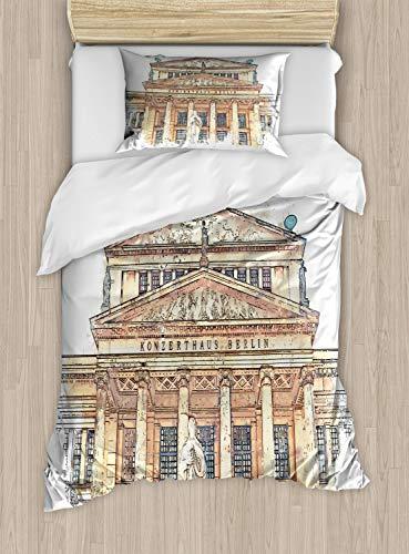 ABAKUHAUS Opera Dekbedovertrekset, Concert House in Berlijn Paint, Decoratieve 2-delige Bedset met 1 siersloop, 130 cm x 200 cm, eierschaal Brown