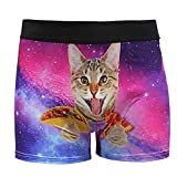 ALAZA Men Underwear Funny Boxer Briefs Pizza Cat Print Soft Boxer Briefs Cute Underwear Medium