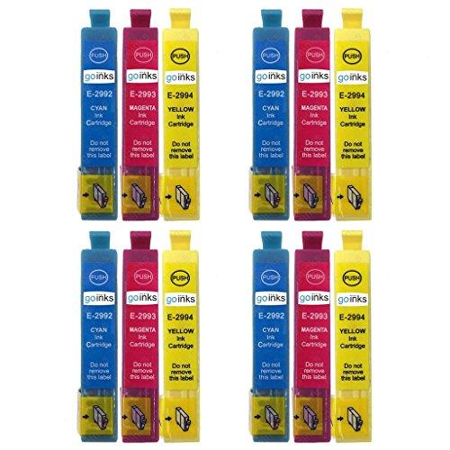 4 Go Ink C/M/Y Set di 3 cartucce di inchiostro per sostituire Epson T2996 C/M/Y (serie 29XL) compatibili/non OEM per stampanti Epson Expression Home (12 inchiostri)
