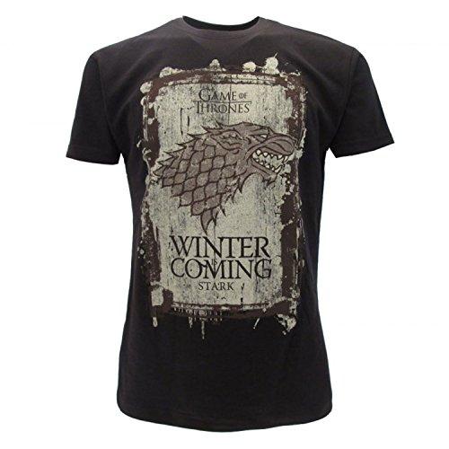 Games of Thrones Camiseta original House Stark Negra Winter is Coming Juego de Tronos con etiqueta y etiqueta de originalidad Negro XXS