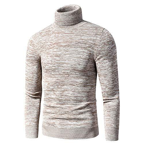 Otoño Nuevo CasualColor Mezclado Algodón Polar Suéter De Cuello Alto Jerseys Hombres Invierno Moda...