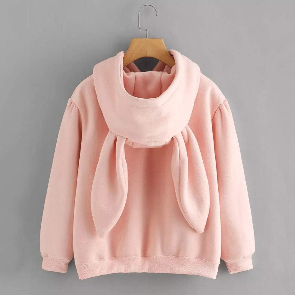 Ulanda Damen Katze Pulli Pullover Sweatshirt Top Hoodies Langarmshirt Streetwear Herbst Winter Tops Bluse Kapuzen Hase Rosa A