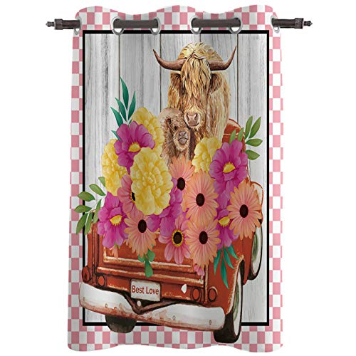 Highland Cattle and Farm Blooming Floral Blackout Curtains 24 Inches Long, Lighting Block Thermal Insulated Curtain for Living Room Nursery Girls Bedroom Office, Red Pickup Truck Pink Check 52''x 24''