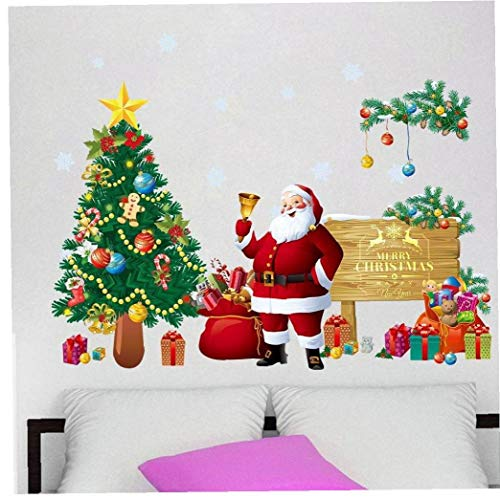 Zonfer Santa Claus Christmas Tree Wall Decals Christmas...