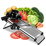 Adjustable Stainless Steel Mandoline Slicer - Professional Handheld Kitchen Mandolin Julienne Cutter for Slicing Food Vegetables Fruit Chip French Fry - Cut-Resistant Gloves & Blade Cleaning Brush