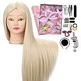 Cabeza de maniquí 66cm Neverland cabeza peluqueria 100% pelo de fibra sintética muñeca con pelo largo con soporte de mesa y el juego de trenzas