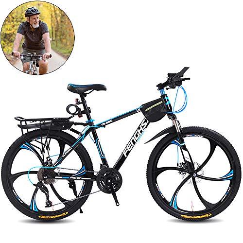 @Y.T Mountainbike, 24/26 Zoll 6-Schneidrad Leichter Kohlenstoffstahlrahmen Doppelscheibenbremse Stoßdämpfung 27-Gang-Fahren im Freien