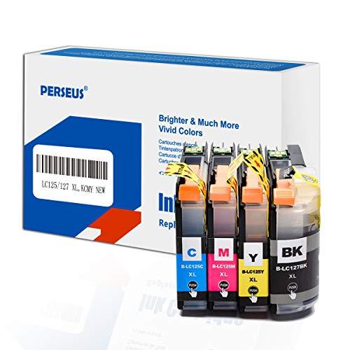 PERSEUS Druckerpatronen Kompatibel für Brother LC127XL LC125XL (Schwarz, Cyan, Magenta, Gelb), Arbeiten mit MFC-J4410DW, J4510DW, J4610DW, J4710DW, BK/C/M/Y Tintenpatronen