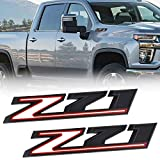 JINGSEN 2PC Z71 Emblems 2019 to 2021 replacement Silverado 1500 2500 3500 decal badge 84632695 nameplate OEM (Black Red)