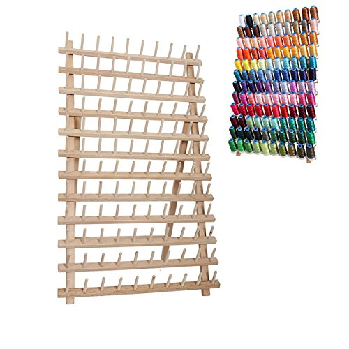Read About ROSENICE 120 Spool Stand Thread Holder Wooden Rack Thread Organizer Foldable Cone
