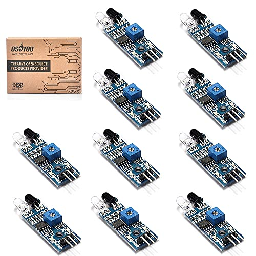 OSOYOO 10PCS Obstacle Avoidance Sensor module with IR Transmitting, Receiving Tube, and Photoelectric Switch for Arduino Smart Car Robot Raspberry PI 4 3 Model B