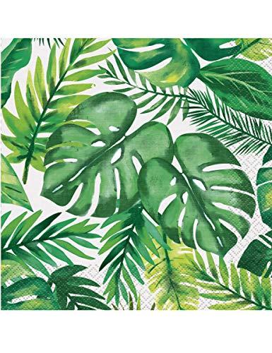 COOLMP – Juego de 3 – 16 servilletas de papel de palm tropical Luau 33 x 33 cm – Talla única – Decoración y accesorios de fiesta, animación festiva, cumpleaños, boda, evento, juguete, cotillon