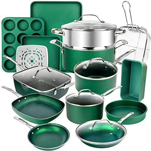 GRANITESTONE Emerald Green 20-Piece Aluminum Ultra-Durable Triple Layer Non-Stick Cookware and Bakeware Set
