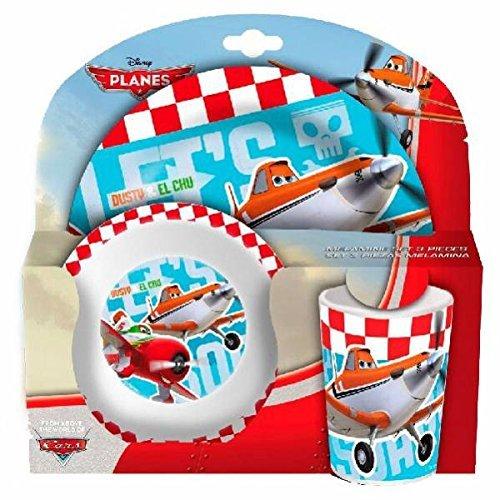 Set 3 Pieces Melamine Cars Planes Disney Assiette Verre Bol Enfant Garcon