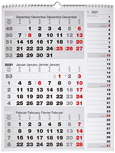 rido/idé 7033330001 Wandkalender/Drei-Monats-Kalender Kombi-Planer 3, 1 Blatt = 3 Monate, 300 x 390 mm, Kalendarium 2021, Wire-O-Bindung mit Aufhänger, mit rechtsbündigem Streifenkalender