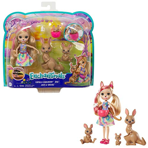 Enchantimals GTM31 - Kamilla Kangaroo Familie Spielset, Puppe (15,2 cm) mit 3 Tierfiguren und 1 Fläschchen-Accessoire, aus der Sunny-Savanna-Kollektion, tolles Geschenk für Kinder von 3 bis 8Jahren