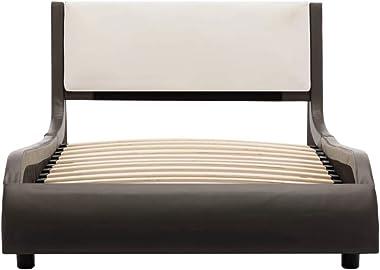 vidaXL Cadre de Lit Sommier à Lattes Lit Rembourré Lit Simple Lit Adulte Chambre à Coucher Maison Intérieur Gris et Blanc Sim