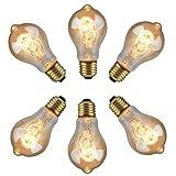 XIHOME 6PCS Lampadina Vintage Edison stile retrò 60W A19 E27 220V-240V,decorativa stile classico a incandescenza filamento in tungsteno dimmerabile 2700 K luce bianca calda, confezione da 6 lampadine