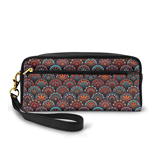 Pencil Case Pen Bag Pouch Stationary,Circles Pattern Mandala Inspired Floral Arrangements Geometric Rectangles,Small Makeup Bag Coin Purse
