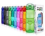 HoneyHolly Botella de Agua Deporte 500ml, sin bpa tritan plastico, Reutilizables a Prueba de Fugas Botellas Potable con Filtro para niños, Colegio, Sport, Gimnasio, Trekking, Bicicleta