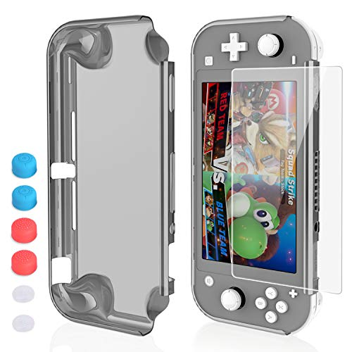 HEYSTOP Nintendo Switch Lite Case, PC Clear Protective Case Cover for Nintendo Switch Lite with Switch Lite Tempered Glass Screen Protector and 6 Thumb Stick Caps(Black)