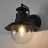 Lámpara de pared exterior 'Eddie' (Tradicional) en Marrón (1 llama, E27) de Lindby | lámparas de pared para exterior aplique, lámpara LED para exterior, aplique para pared exterior/fachada, vivienda