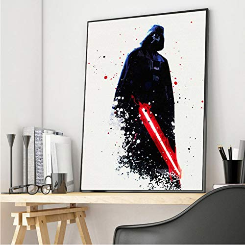 PCCASEWIND Noframe Painting 50X70Cm,Watercolor Darth Vader Room Living Room Canvas Poster Film Prints Wall Art Decoration Decorative Painting Pict -Hd1126