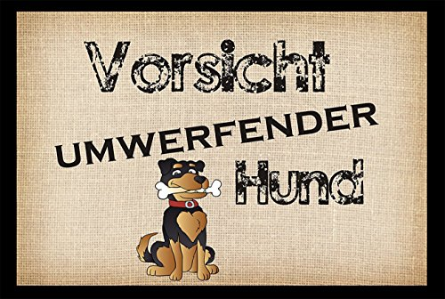 """Fussmatte """" Vorsicht - umwerfender Hund """"- Fussmatte bedruckt Türmatte Innenmatte Schmutzmatte lustige Motivfussmatte"""