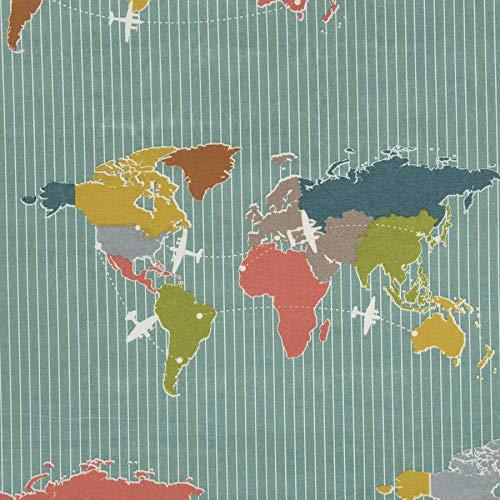 MIRABLAU DESIGN Stoffverkauf Bio Baumwolle Popeline GOTS Weltkarte blau (4-197M), 0,5m