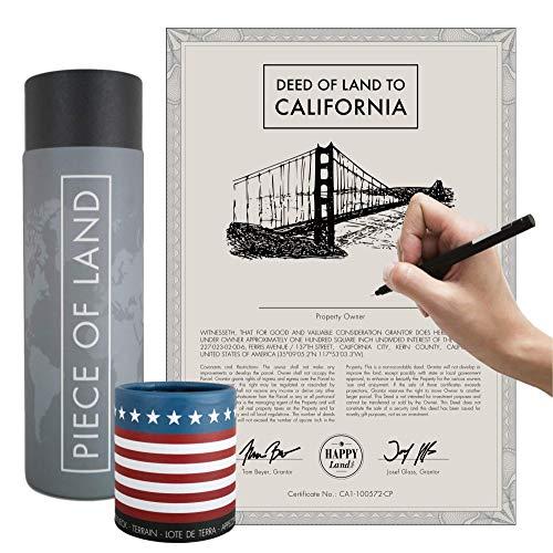 happylandgifts® Echtes Grundstück in Kalifornien als einzigartiges Geschenk für USA Fans | Besitzurkunde mit Wunschname zum selber eintragen | Kalifornien Geschenk | Los Angeles Geschenkideen