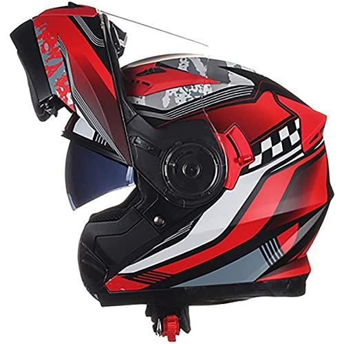 Casco Moto Modular para Mujer y Hombre Protección Cascos Cascos Flip Up Motocicleta,ECE Homologado Casco Flip-up Full-Face con Viseras Duales Casco D,XXL=63~64CM