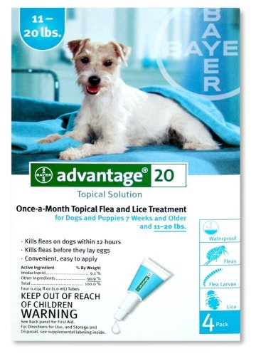 Bayer Topical Flea Treatment for Dogs 11-20 Lbs (4 Applications) -  Advantage, 004BAY04-11-20