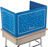Really Good Stuff Plastic Privacy Shields for Student Desks – Set of 6 - Large - Study Carrel Reduces Distractions - Keep Eyes from Wandering During Tests, Blue with School Supplies Pattern