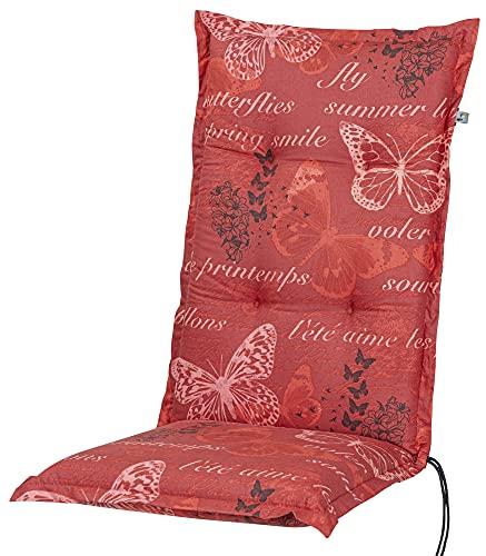 Kettler Polen KETTtex 2386 Auflage Hochlehner Bali rot Schmetterlinge 120x49x8 cm Sitzpolster